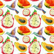 Exotic fruits and birds background. — Photo #41275027