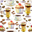 Seamless watercolor background with cups and cakes. — Stock Photo