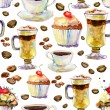 Seamless watercolor background with cups and cakes. — Stockfoto