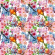 Spring flower with bird seamless pattern — Stock Photo