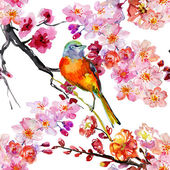Seamless floral pattern with birds and blooming flowers — Stock Photo