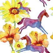 Watercolor pattern with hibiscus flower and horses — Stock Photo