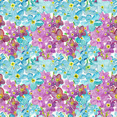 Watercolor pattern with purple and blue flowers — Stock Photo