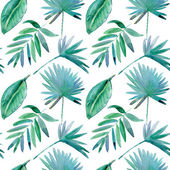 Seamless pattern with tropical leaves. watercolor — Stock Photo
