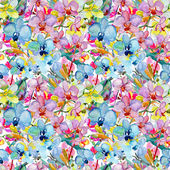 Seamless pattern of exotic flowers and leaves — 图库照片