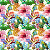 Flora tropical flowers, birds and leaves. — Stock Photo