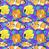 Watercolor background with tropical fishes — Stock Photo