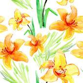 Beautiful Lily flowers Seamless Pattern — Stock Photo