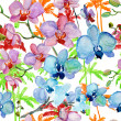 Seamless pattern with Orchids flowers and Palm trees — Stock Photo #48052657