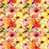 Pattern of exotic flowers and birds. — Stock Photo