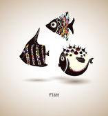 Hand drawn fish 2 — Stock Vector