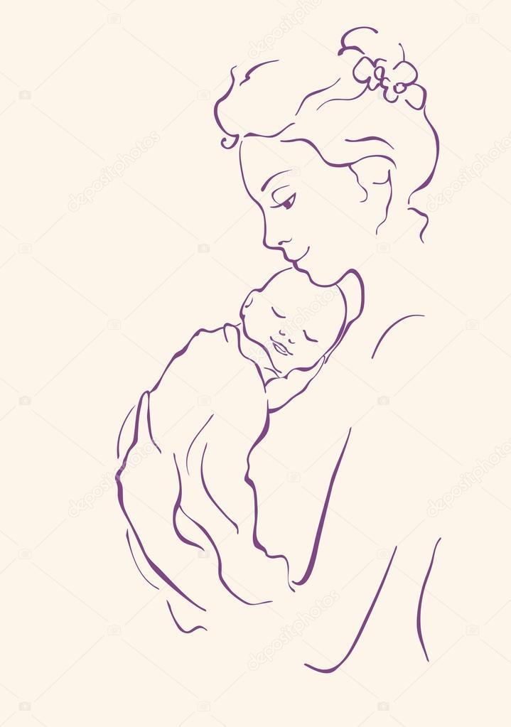 妈妈孩子去幼儿园简笔画