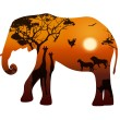 Elephant with silhouettes of animals savanna — Stock Vector