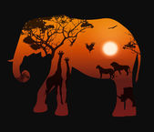 Elephant with silhouettes of animals savanna 2 — Stock Vector