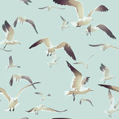 Seamless texture with a flock of seagulls flying 3 — Stock Vector