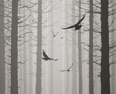 Silhouette of the forest with flying birds. grays — Stock Vector
