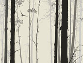 Silhouette of deciduous forest with a flying owl 1 — Stockvector