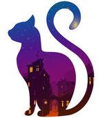Silueta de un gato con una ciudad de noche — Vector de stock