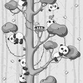 Pandas auf dem baum — Stockvektor