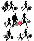 Silhouettes of people shoping — Stockvector