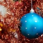 Blue xmas ball — Stock Photo
