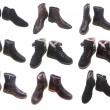 Winter shoes collage isolated on white — Stock Photo