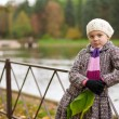 Girl in lonely autumn park  — Stock Photo