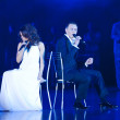 Elena Grishanova-Vyacheslav Chizhik BELARUS, perform popular song as a gift on Minsk-Open championship — Stockfoto