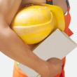 Fragment shot of a strong builder man — Stock Photo