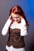 Woman feeling headache — Stock Photo