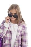Ragazza felice positiva, occhiali da sole — Foto Stock