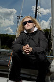Serious blond female sailor — Stock Photo