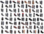 88 pairs of male footwear over white background — Stock Photo