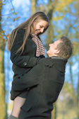 Two best friends embracing outside — Stock Photo