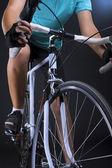 Race bike closeup. isolated over black — Stock Photo