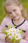 Little blond girl with natural smile — Stock Photo