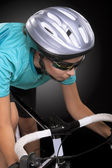 Partial portrait of young caucasian female cyclist athlete shot — Stock Photo