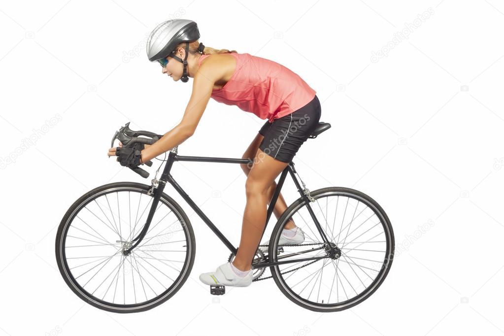athl te f minine de cyclisme professionnel posant avec. Black Bedroom Furniture Sets. Home Design Ideas