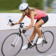 Riding fast bike outdoors — Stock Photo