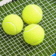 Three tennis balls lie on a tennis racket strings. — Stock Photo