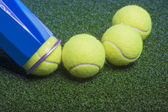 Tennis concept: tennis balls out of a container — Stockfoto
