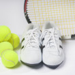 Постер, плакат: Tennis Raquet Tennis Balls and Sneakers