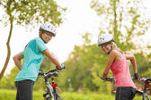 Two Female Caucasian Cyclists — Stock Photo