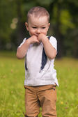 Cute Little Boy Shying — Stock Photo