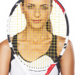 Portrait of Young Caucasian Female Tennis Player Holding Racket — Stock Photo