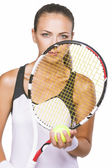 Nice Portrait of a Young Female Tennis Sportswoman Player With N — Stock Photo