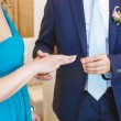 Stock Photo: Exchanging of Wedding Rings