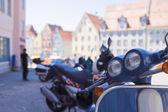 Sacco di moto in un crudo — Foto Stock