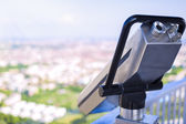 Guest tourist binoculars at Olimpiapark Tower in front of aerial — Stock Photo