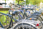 Row of parked color bicycles standing on street — Stock Photo